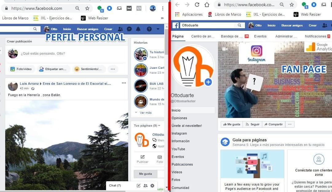 Diferencias entre perfil y página de Facebook | Otto Duarte