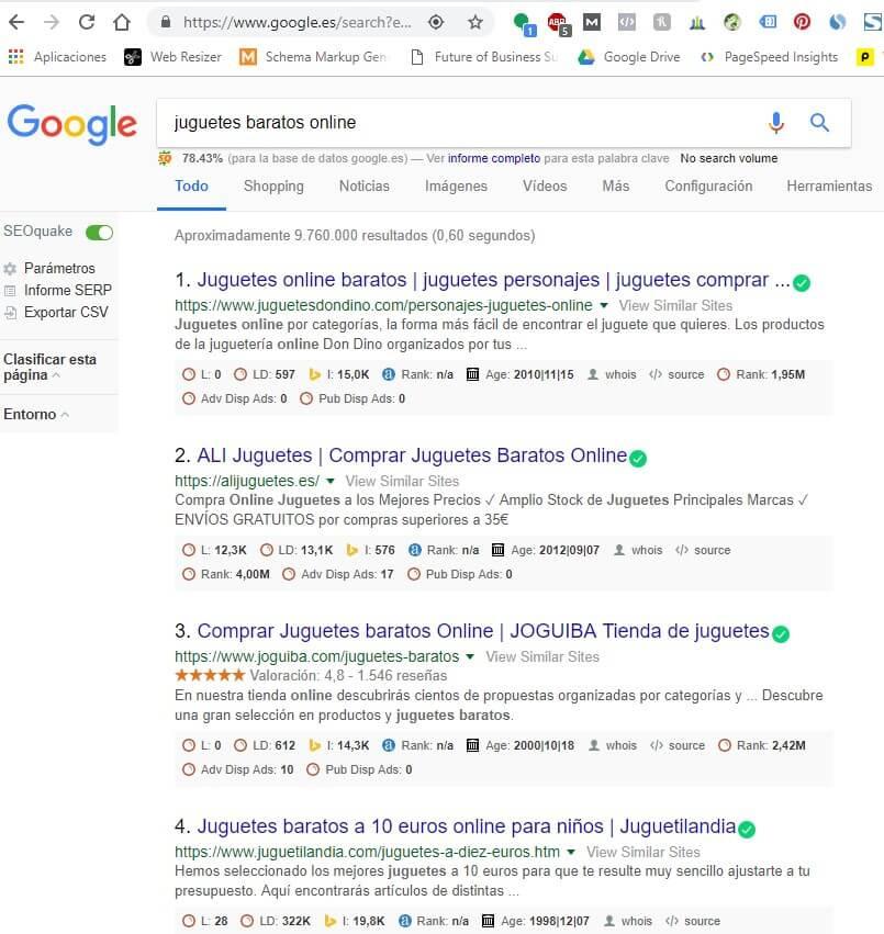 ejemplo sin sitelinks de google